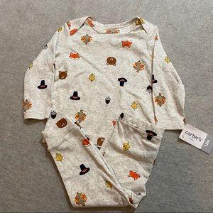 4/$15 NWT carters 12m pajama set thanksgiving